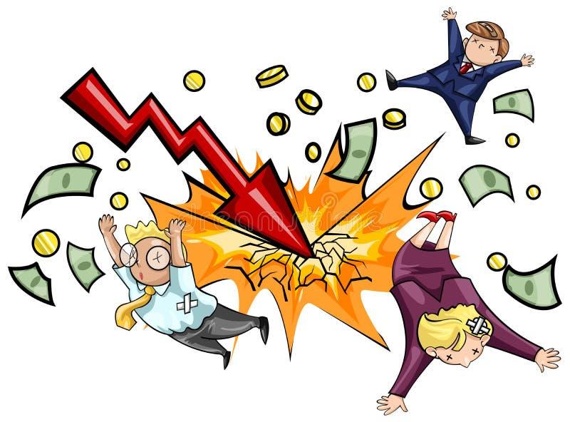 Trzask ekonomiczna degrengolada royalty ilustracja