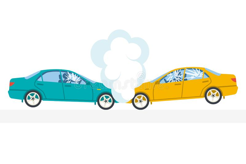 Trzask ikona Wypadku samochodowego symbol royalty ilustracja
