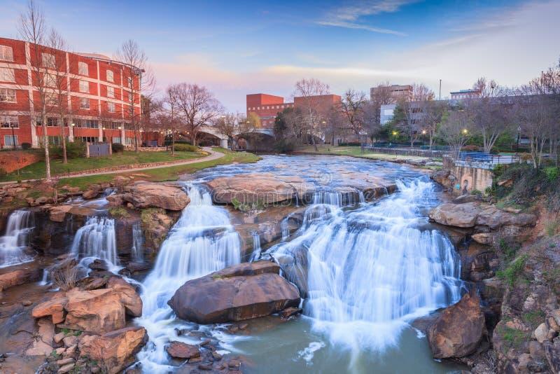 Trzciniasty Rzeczny siklawy Greenville Południowa Karolina Rzeczny spacer obraz royalty free