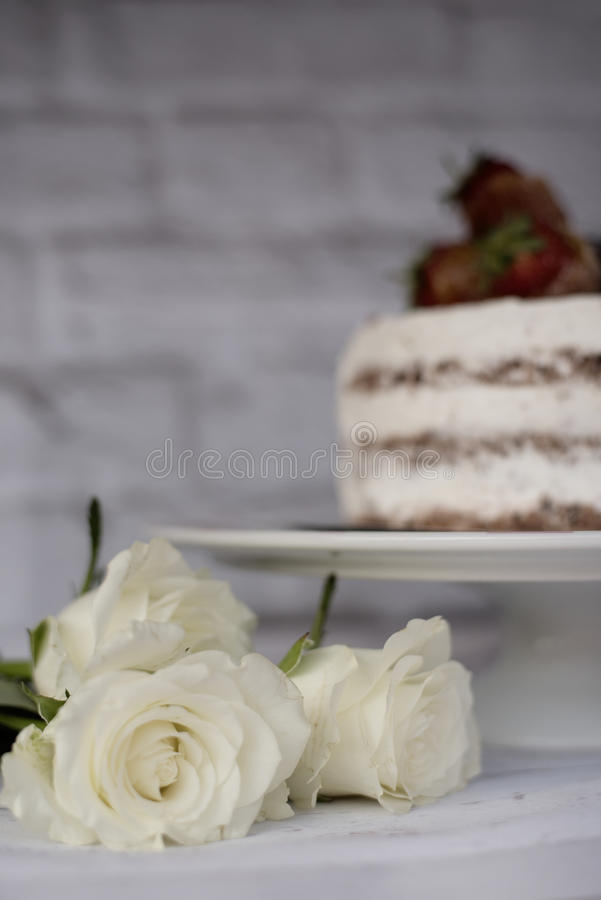 trzech białych róż Defocused nagi czekoladowy tort z śmietanką behind Jaskrawy nieociosany tło Selekcyjna ostrość zdjęcia royalty free