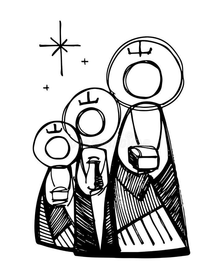 trzech mężczyzn mądrzy royalty ilustracja