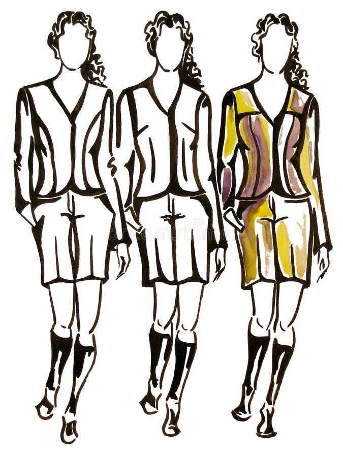 trzech modeli ilustracji