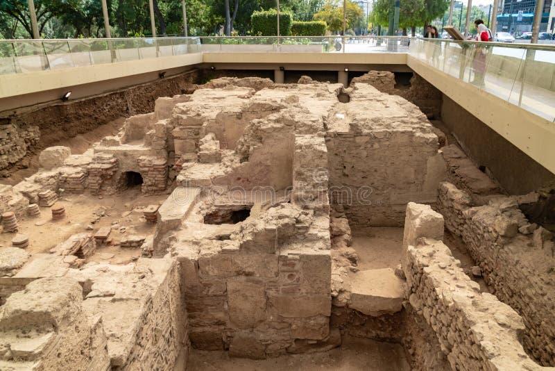 Trzeci eforat Ateny dawno?? podczas kr?lowania cesarz Hadrian Wykopywany archeologiczny miejsce rzymski skąpanie dom wewnątrz obrazy royalty free