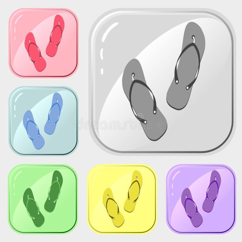 Trzepnięcie klap ikony ustawiać 6 kolorowa kolekcja Wektorowy rysunek na bia?ym tle Prosty wzór dla projekta logo dla rynku, royalty ilustracja