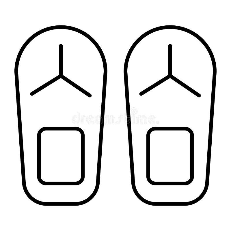 Trzepnięcie klapy cienieją kreskową ikonę Plażowych kapci wektorowa ilustracja odizolowywająca na bielu Obuwie konturu stylu proj royalty ilustracja