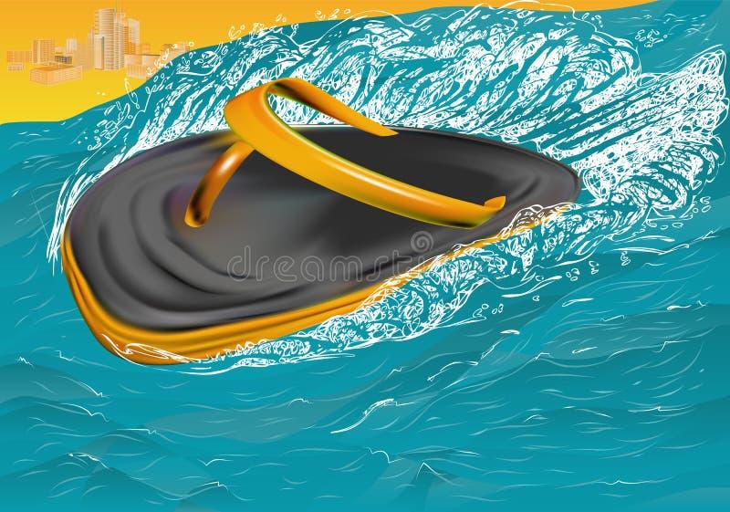 Trzepnięcie klapy na morzu ilustracja wektor