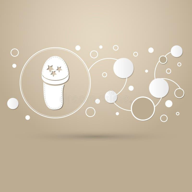 Trzepnięcie klapy, plażowa kapeć ikona na brown tle z eleganckim stylem i nowożytny projekt infographic, ilustracja wektor