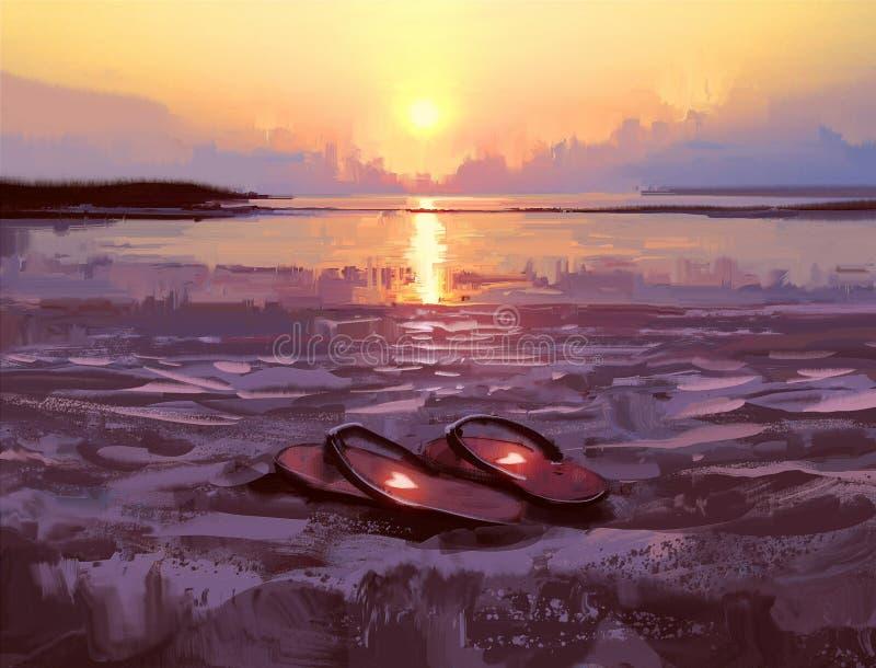Trzepnięcie klapy z uroczymi sercami na plaży przy zmierzchem ilustracji