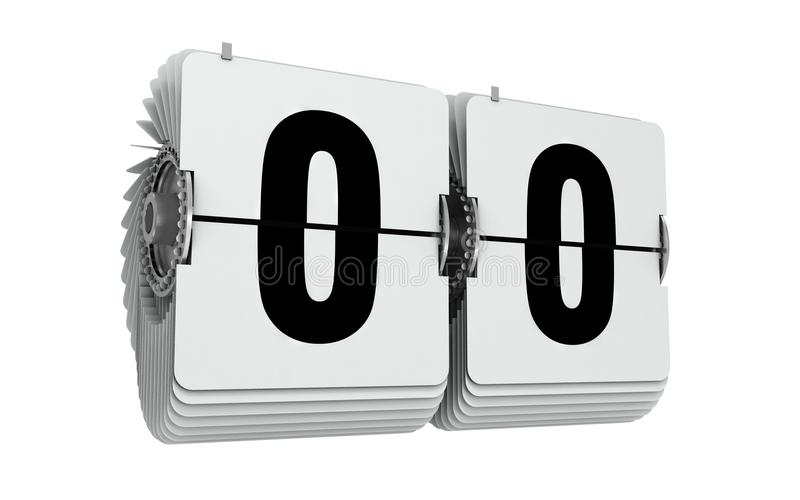 Trzepnięcie liczby zero 3d ilustracja odizolowywająca na biel royalty ilustracja