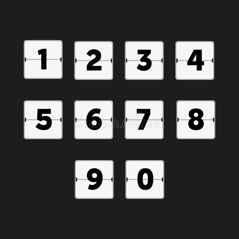 Trzepnięcie odliczanie zegar, cogodzinny rozkład Liczby obliczenie royalty ilustracja