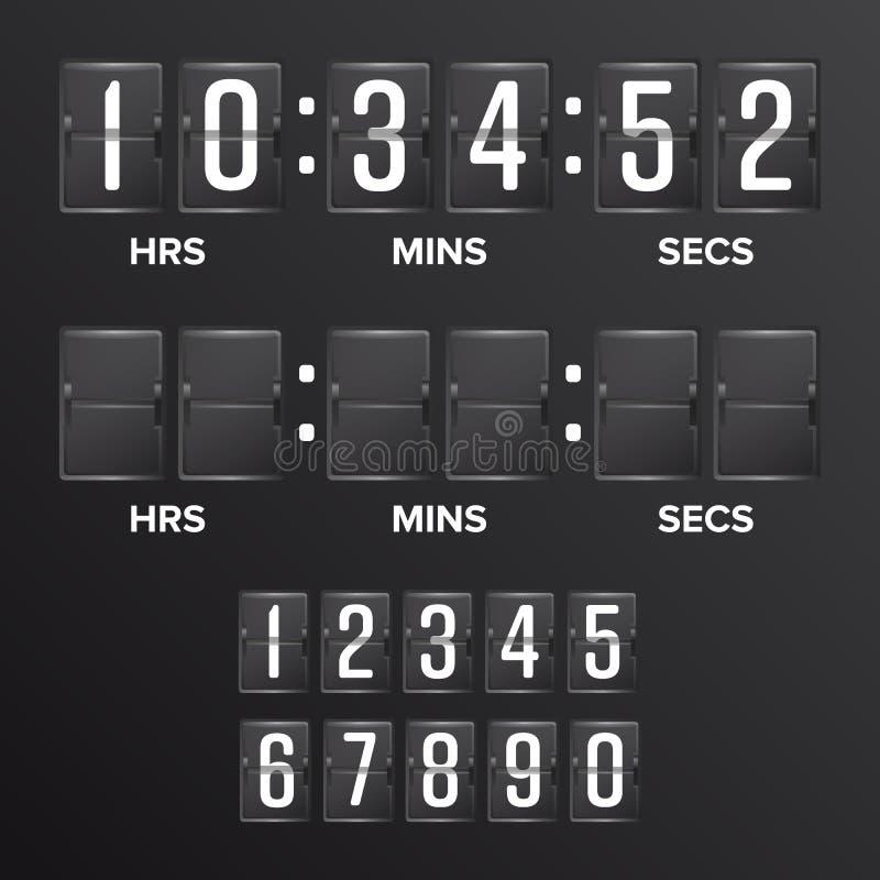 Trzepnięcie odliczanie zegaru wektor Analogowy Czarny tablicy wyników Cyfrowego zegaru puste miejsce Godziny, minuty, sekundy Cza royalty ilustracja
