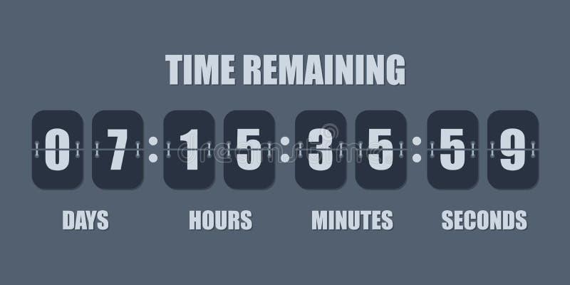 Trzepni?cie odliczanie zegarowego kontuaru zegar Wektorowego czasu obliczenia puszka trzepni?cia pozosta?a deska z tablic? wynik? ilustracji
