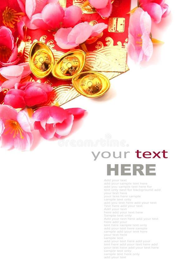 Trzewiczkowaty złocisty ingot i śliwka kwiaty (Juan Bao) fotografia royalty free