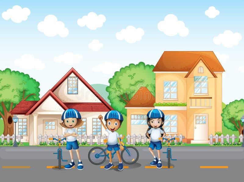 Trzy ślicznego rowerzysty przy drogą ilustracji