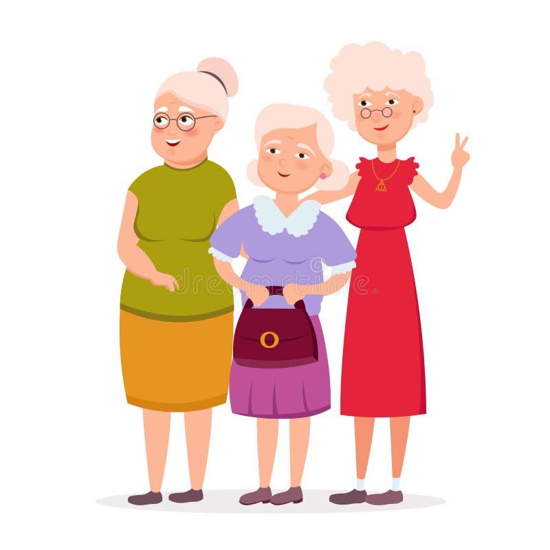 Trzy ślicznego starszego kobieta przyjaciela stoi wpólnie wektorową płaską ilustrację Starzejący się dam postać z kreskówki ono u ilustracja wektor