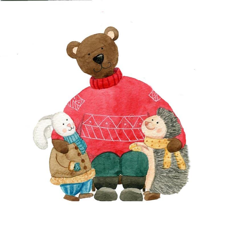 Trzy ślicznego zwierzęcego przyjaciela: niedźwiedź, zając i jeż, zdjęcie stock