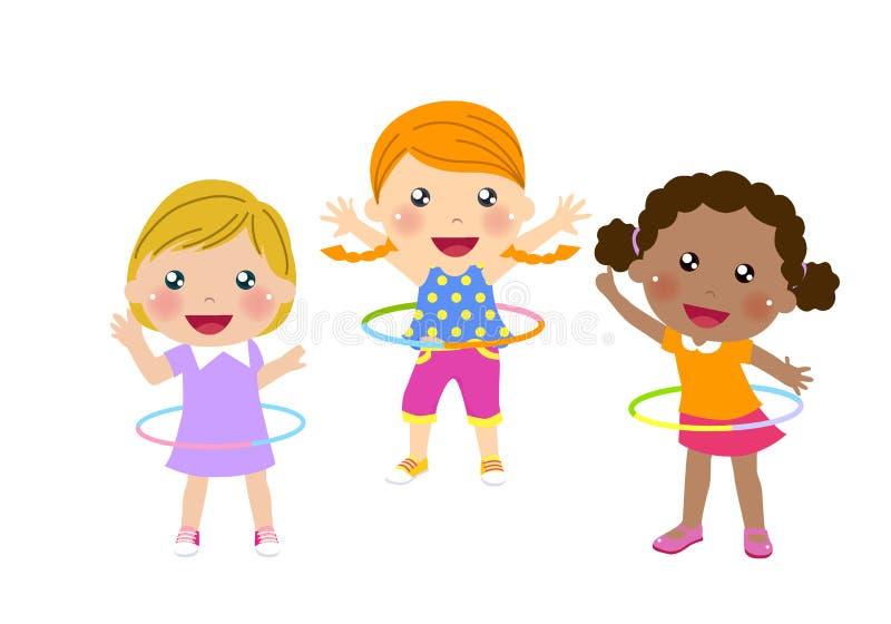 Trzy ślicznej dziewczyny twirling hula obręcz ilustracji