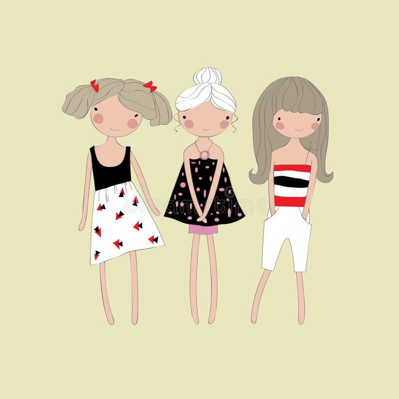 Trzy ślicznej dziewczyny w lecie odziewają ilustracji