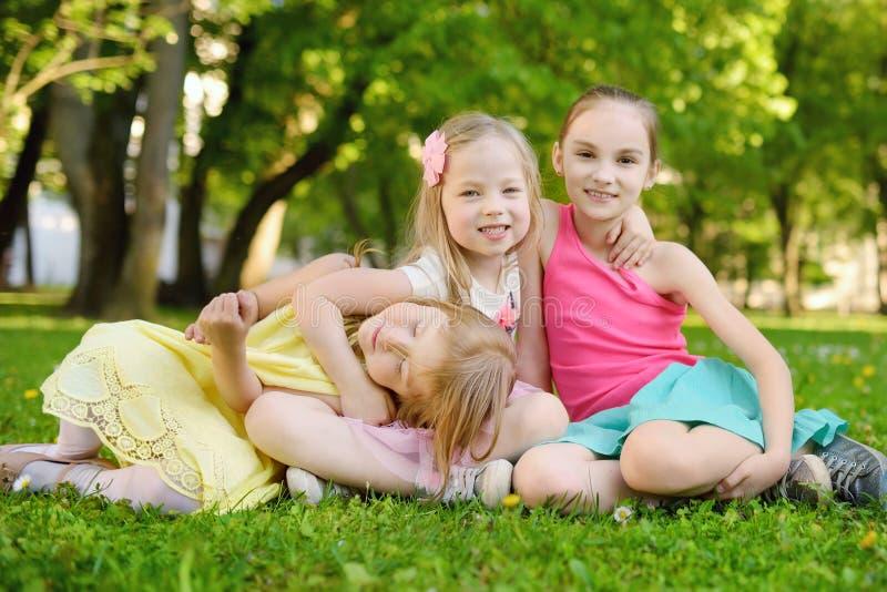 Trzy ślicznej małej siostry ma zabawę na trawie na pogodnym letnim dniu wpólnie Śmieszni dzieciaki wiszący wpólnie outdoors fotografia royalty free