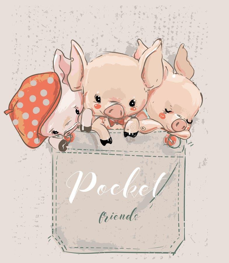Trzy ślicznej uroczej kreskówki świni na kieszeni royalty ilustracja