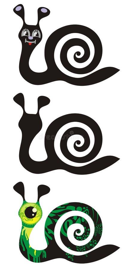Trzy ślimaczka ilustracja wektor