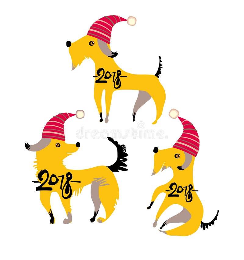 Trzy śmiesznego żółtego psa W czerwonych świątecznych nakrętkach ilustracji