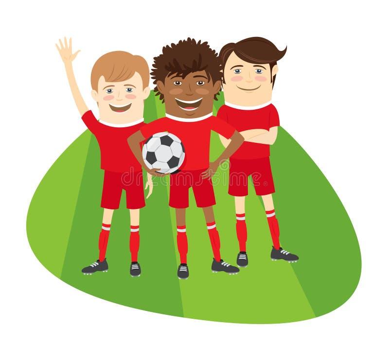 Trzy Śmiesznego futbolowego gracza piłki nożnej zespalają się pozycję na trawy polu ilustracji