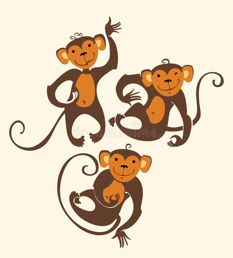 Trzy Śmiesznej małpy royalty ilustracja