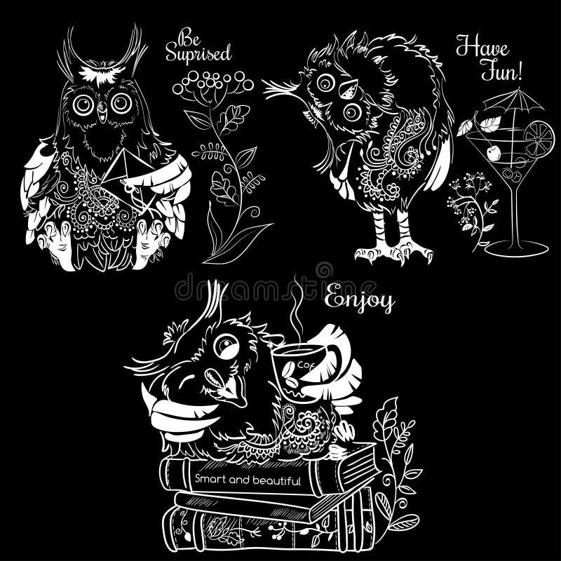 Trzy śmiesznej sowy royalty ilustracja