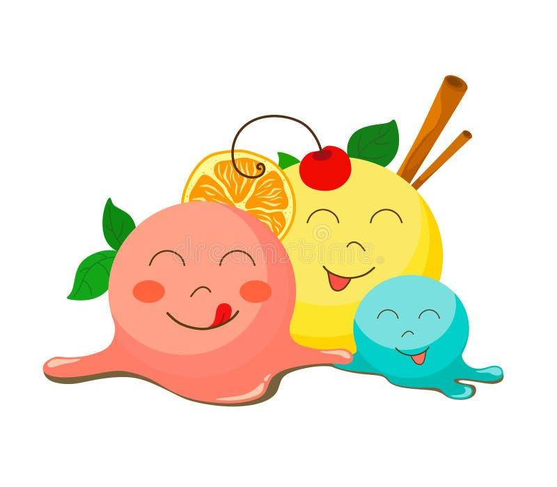 Trzy śmieszny roztapiający lody z wiśnią, cynamonem, pomarańcze i melissa, ilustracji