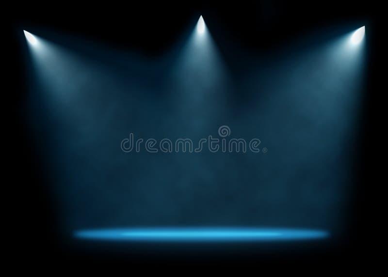 Trzy świateł reflektorów scena obrazy stock