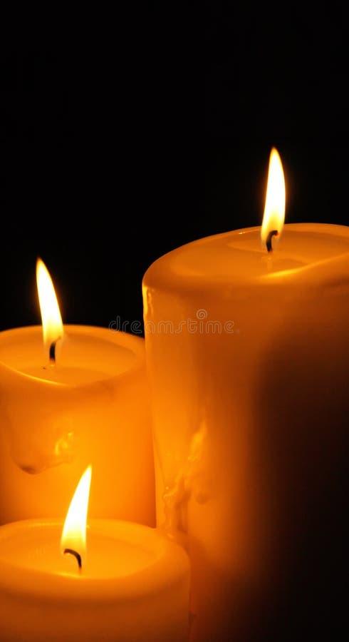 trzy świece. obraz royalty free