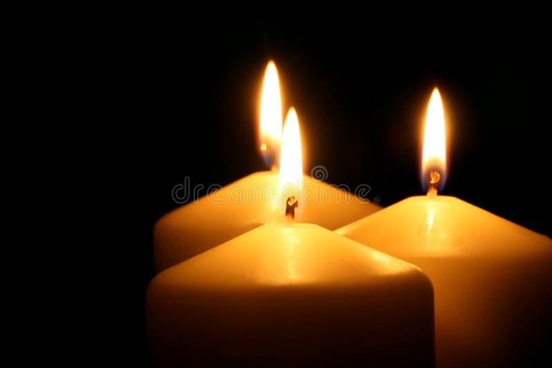 trzy świece. obrazy stock