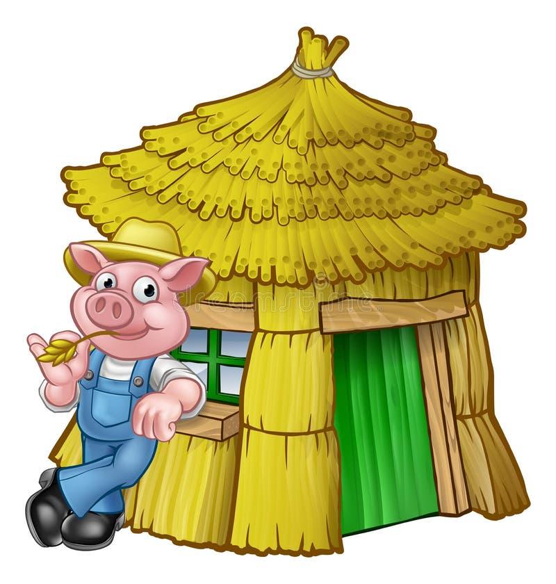 Trzy świni bajki słomy Mały dom ilustracja wektor