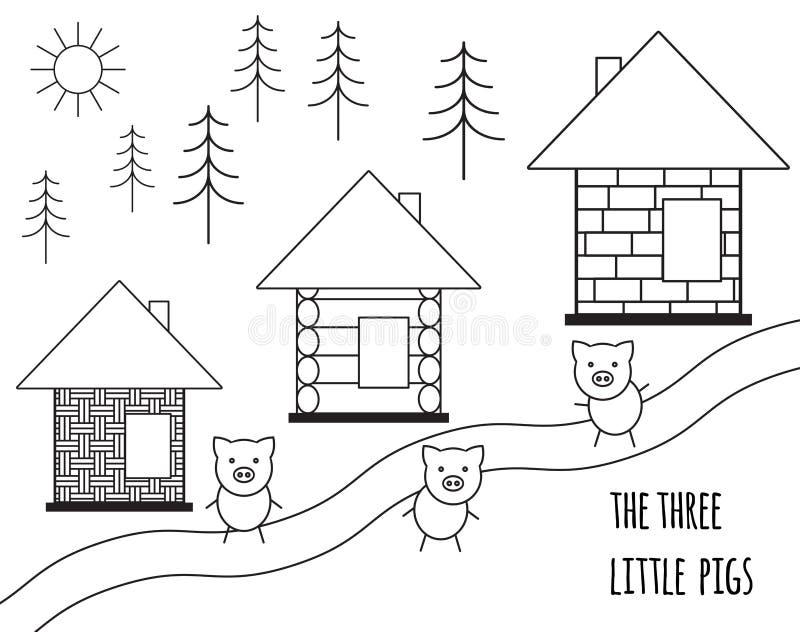 Trzy świni mała bajka Wektorowa ilustracja odizolowywająca na biały tle Czarny i biały prosta sylwetka ilustracji