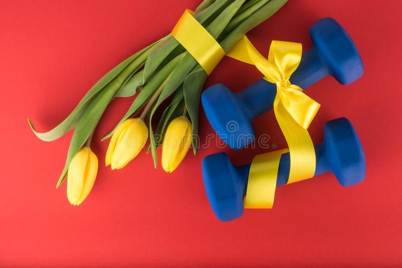 Trzy żółtego dumbbells z łękiem na czerwonym tle i tulipany zdjęcie royalty free