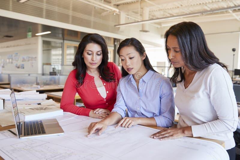 Trzy żeńskiego architekta studiuje plany w biurze wpólnie fotografia stock