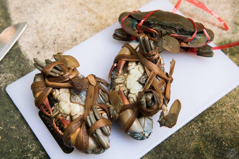 Trzy Żeńskiego Czarnego kraba przed gotować zdjęcia stock