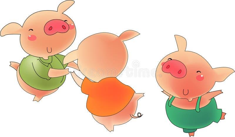 trzy 1 świnie ilustracji