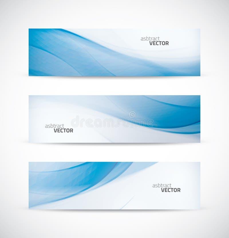 Trzy abstrakcjonistycznego błękitnego biznes fala sztandaru chodnikowa półdupka ilustracji