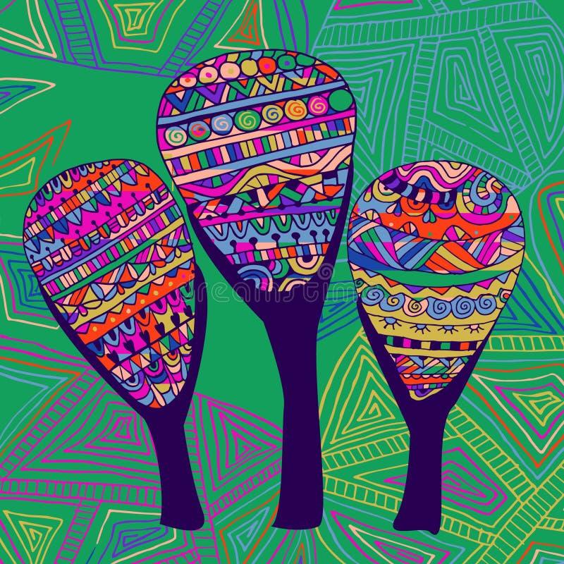 Trzy abstrakta piękny czarodziejski drzewny wzór royalty ilustracja