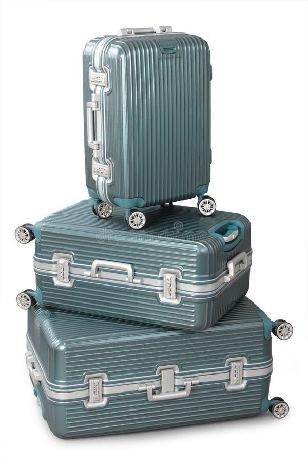Trzy aluminium walizka obraz stock