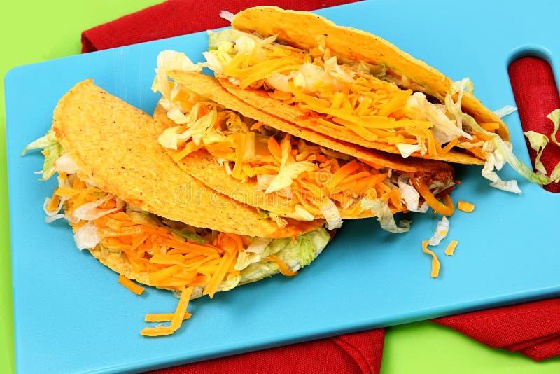 Trzy amerykanin wołowiny Stylowego Tacos obraz stock