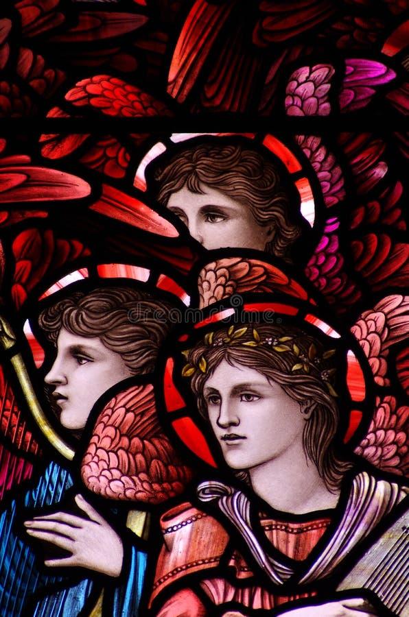 Trzy anioła w witrażu obrazy royalty free