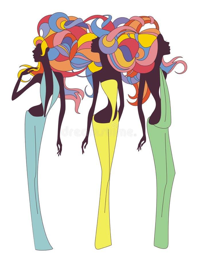 Trzy antykwarskiej sylwetki dziewczyny royalty ilustracja