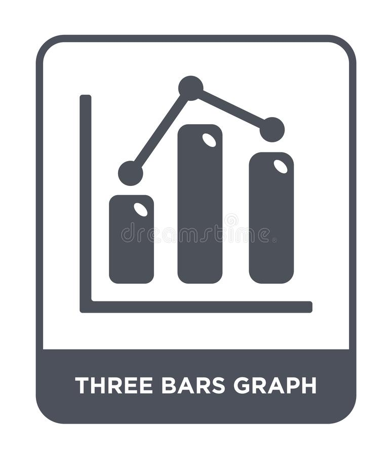 trzy baru wykres ikony w modnym projekta stylu trzy baru wykres ikony odizolowywającej na białym tle trzy baru wykresu wektoru ik royalty ilustracja