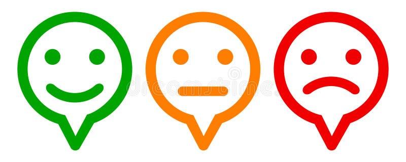 Trzy barwili emoticons, ustawiają emocję, kreskówek emoticons - wektor royalty ilustracja