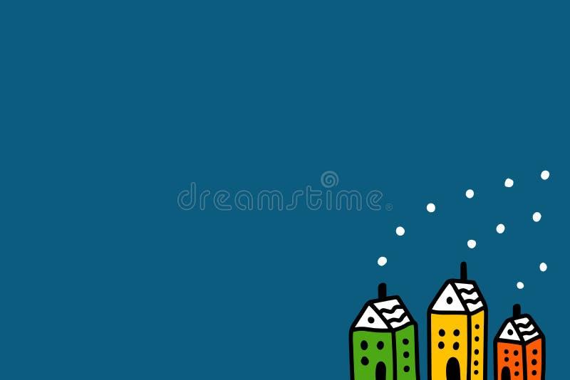 Trzy barwili malutkich domy z dymna ręka rysującą ilustracją w kreskówka stylu Wektor dla pocztówki zimy projekta nowego ilustracja wektor