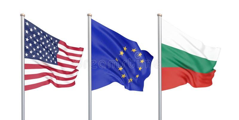Trzy barwili silky flagi w wiatrze: USA Stany Zjednoczone Ameryka, e i Bułgaria odizolowywający na bielu. - unia europejska 3d royalty ilustracja