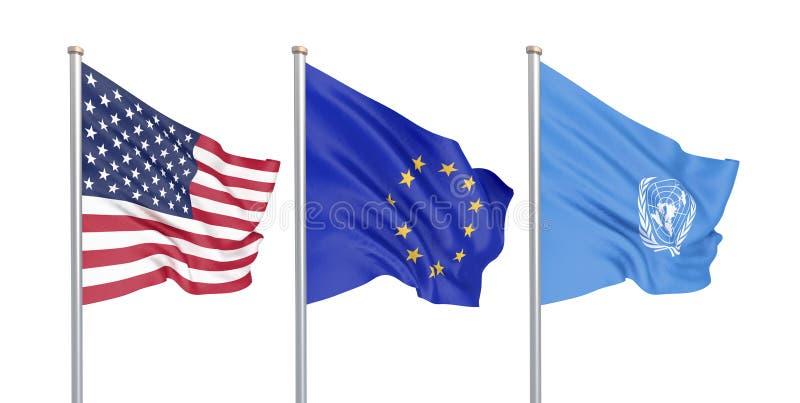Trzy barwili silky flagi w wiatrze: USA Stany Zjednoczone Ameryka, e. - unia europejska i Narody Zjednoczone organizacja ilustracja wektor